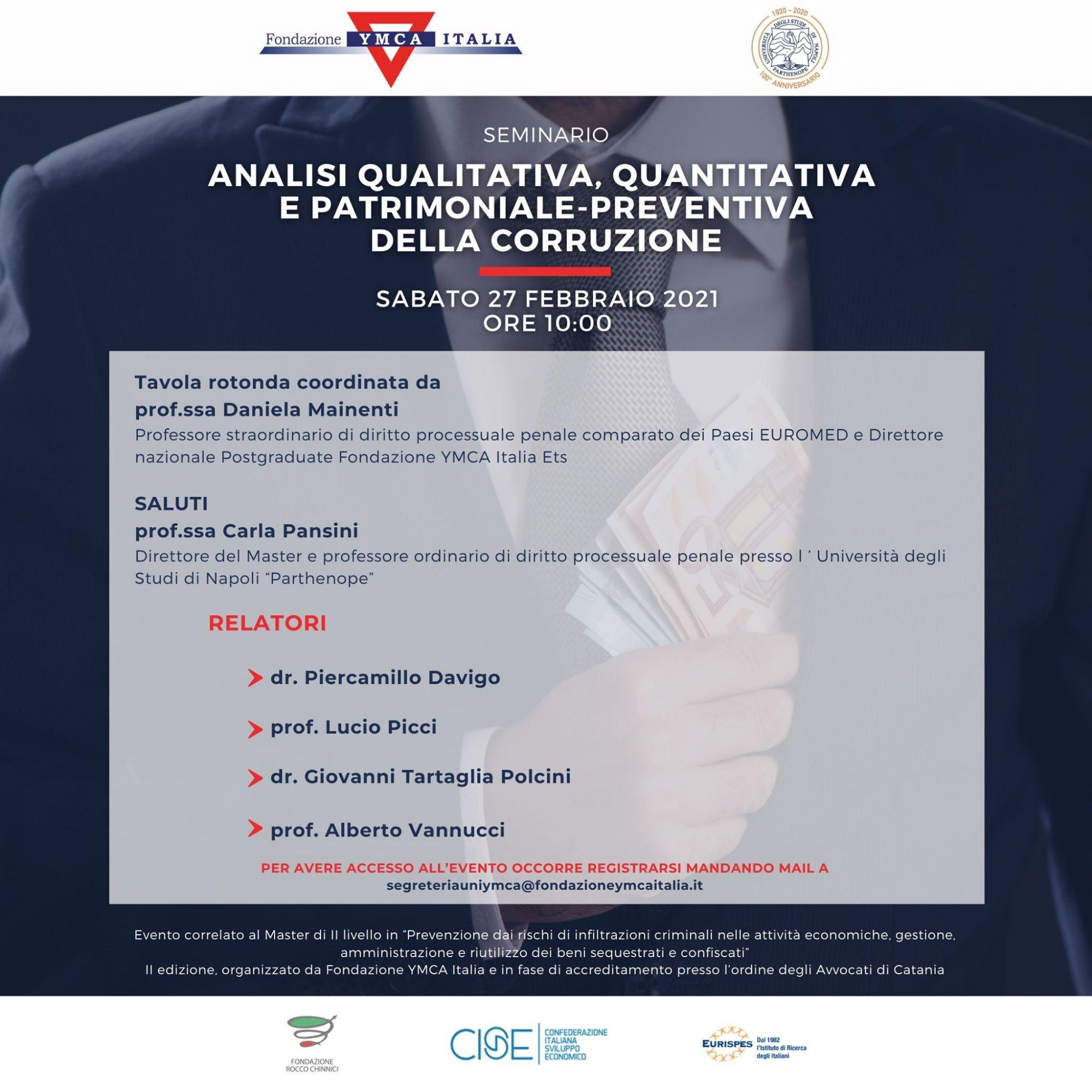 """Seminario """"Analisi qualitativa, quantitativa e patrimoniale-preventiva della corruzione"""""""